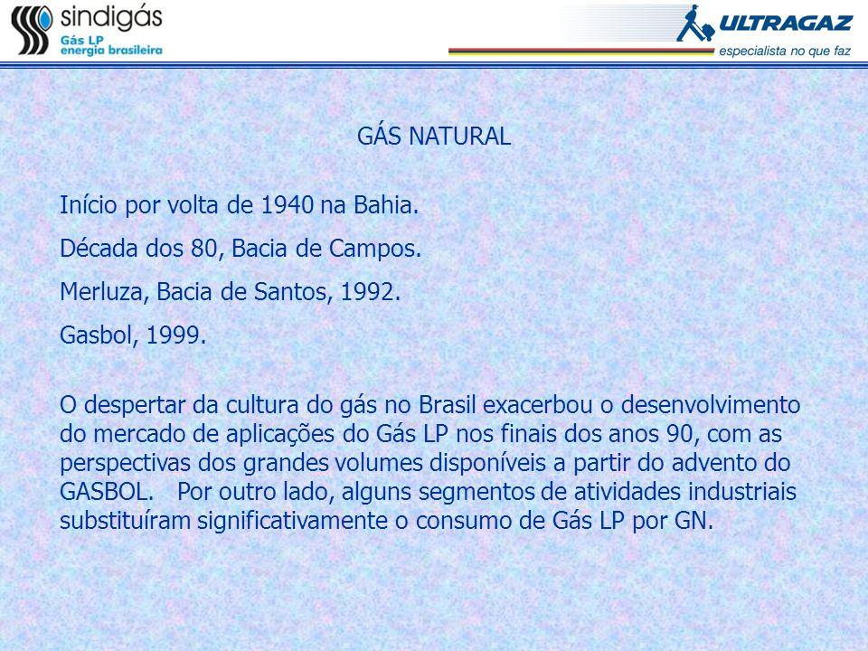 GÁS NATURALInício por volta de 1940 na Bahia. Década dos 80, Bacia de Campos. Merluza, Bacia de Santos, 1992.