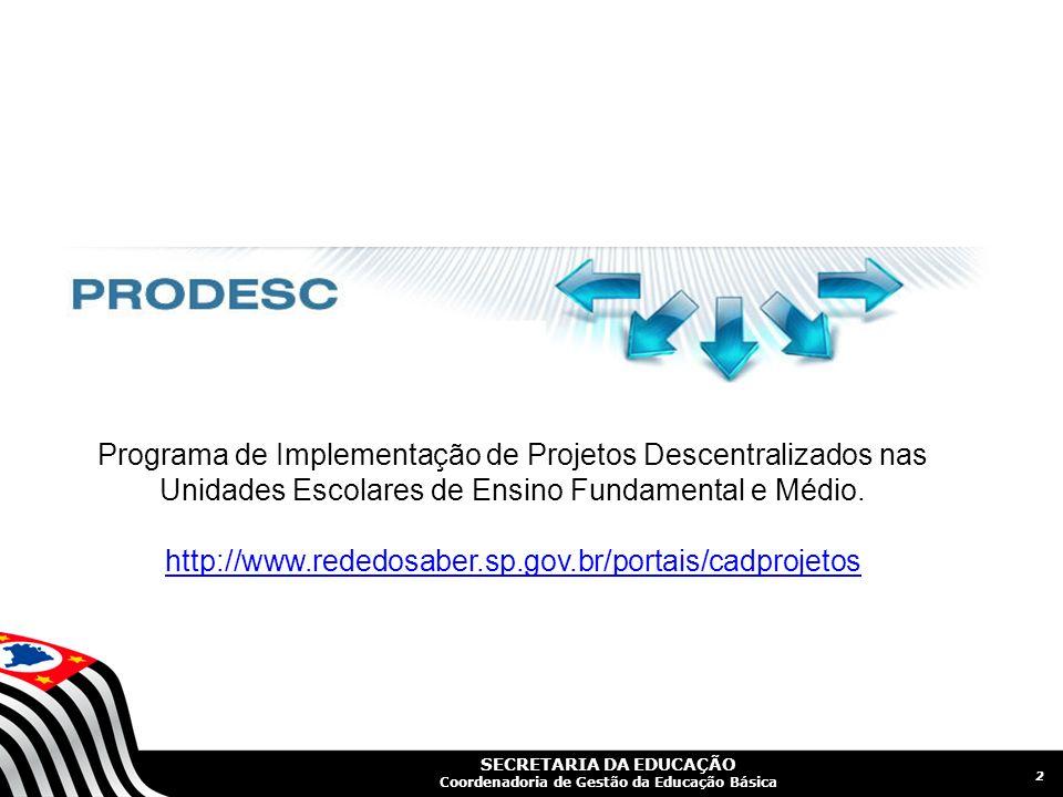 Programa de Implementação de Projetos Descentralizados nas Unidades Escolares de Ensino Fundamental e Médio.