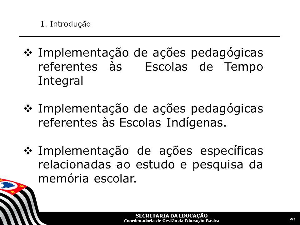 Implementação de ações pedagógicas referentes às Escolas Indígenas.