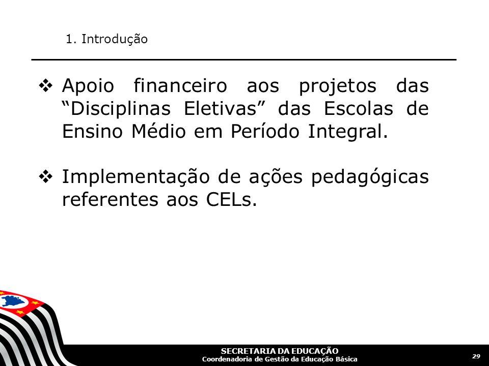 Implementação de ações pedagógicas referentes aos CELs.