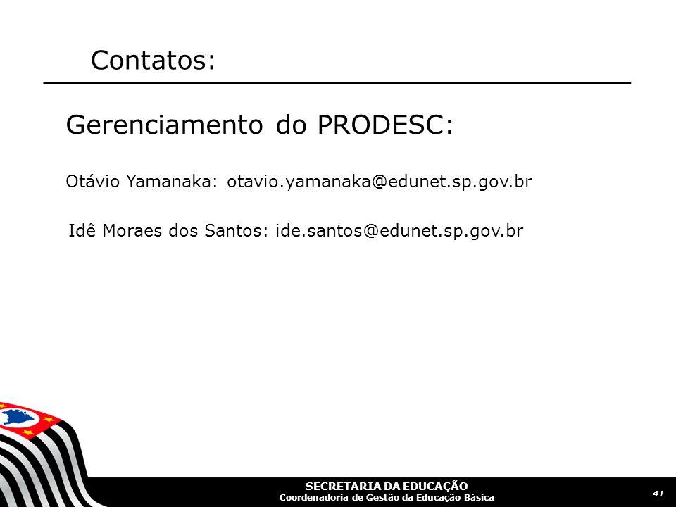 Gerenciamento do PRODESC:
