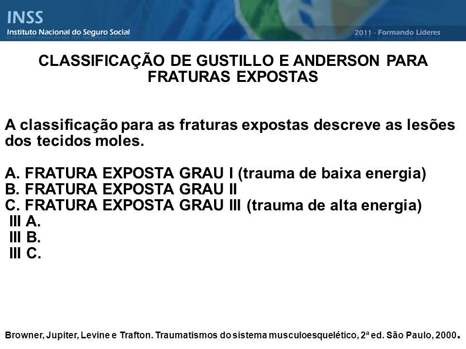 CLASSIFICAÇÃO DE GUSTILLO E ANDERSON PARA FRATURAS EXPOSTAS