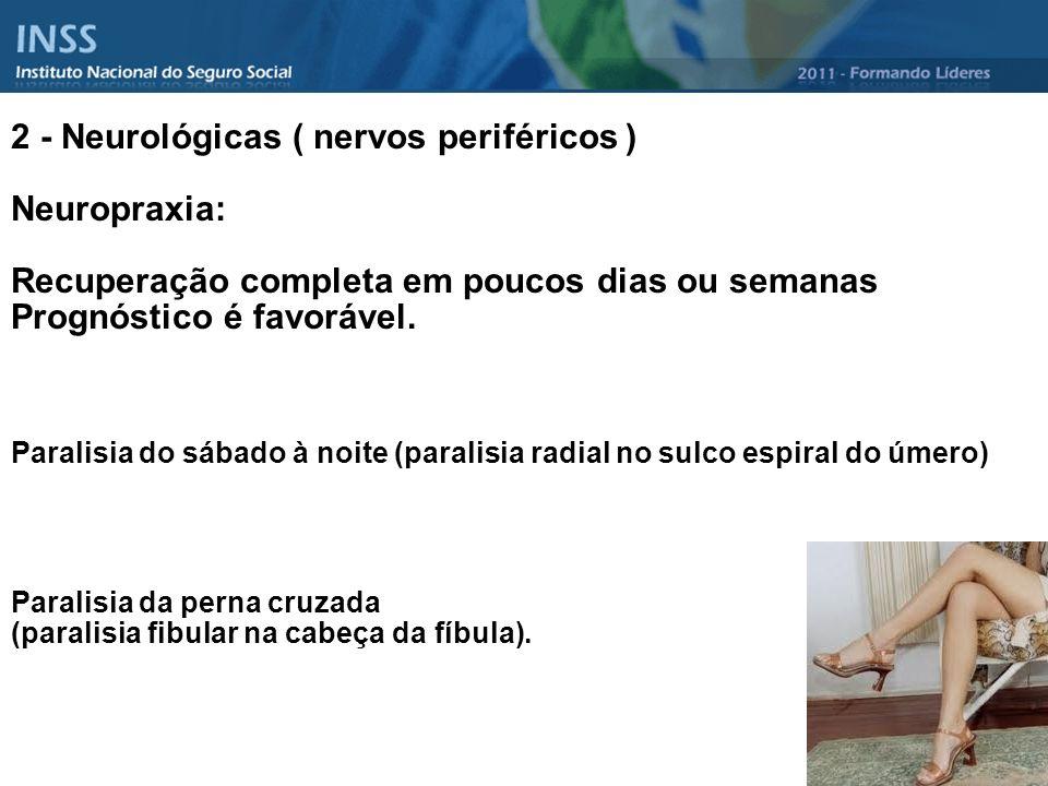 2 - Neurológicas ( nervos periféricos ) Neuropraxia: