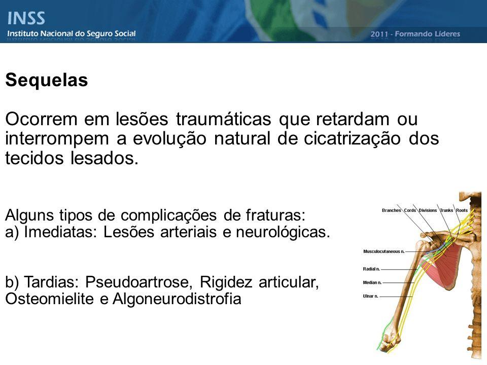 Sequelas Ocorrem em lesões traumáticas que retardam ou interrompem a evolução natural de cicatrização dos tecidos lesados.