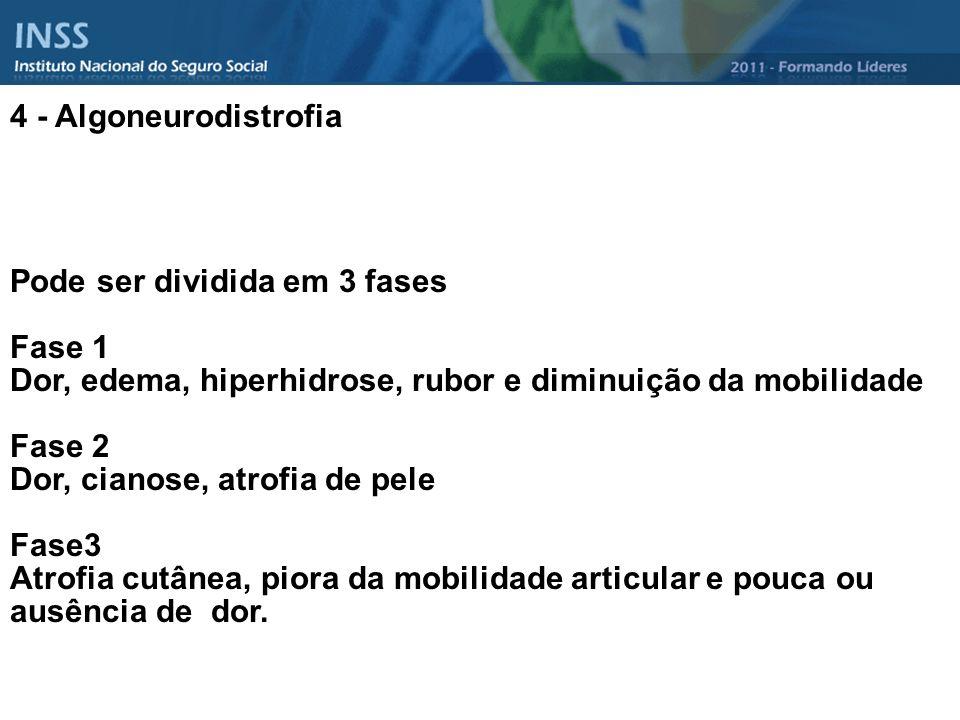 4 - Algoneurodistrofia Pode ser dividida em 3 fases. Fase 1. Dor, edema, hiperhidrose, rubor e diminuição da mobilidade.