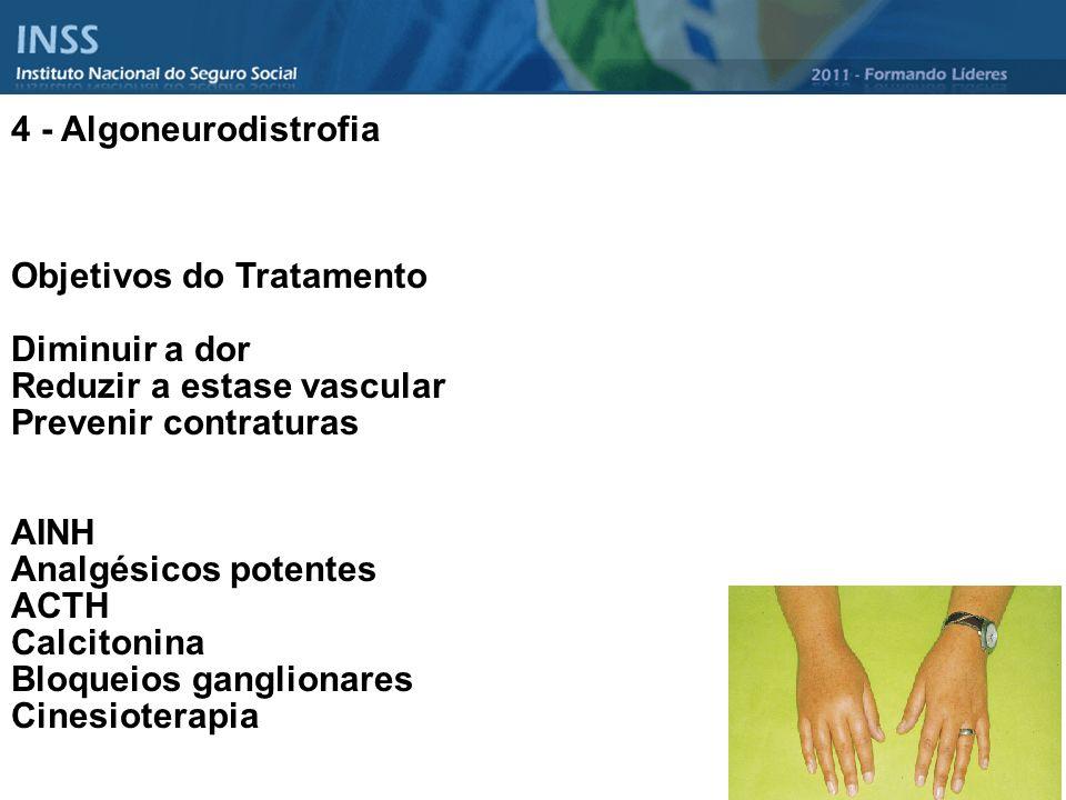 4 - Algoneurodistrofia Objetivos do Tratamento. Diminuir a dor. Reduzir a estase vascular. Prevenir contraturas.