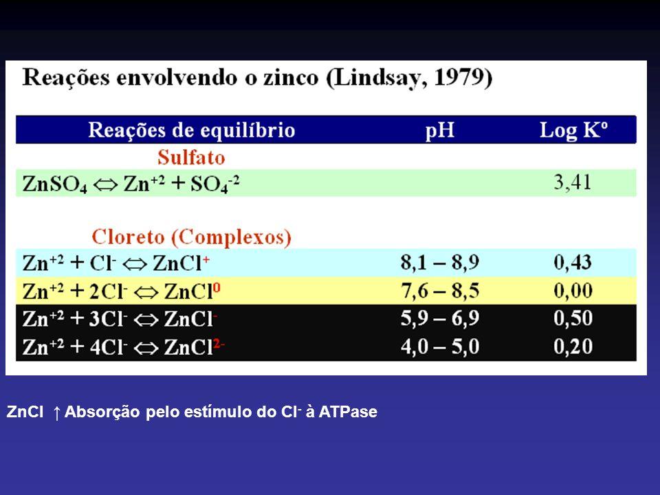 ZnCl ↑ Absorção pelo estímulo do Cl- à ATPase