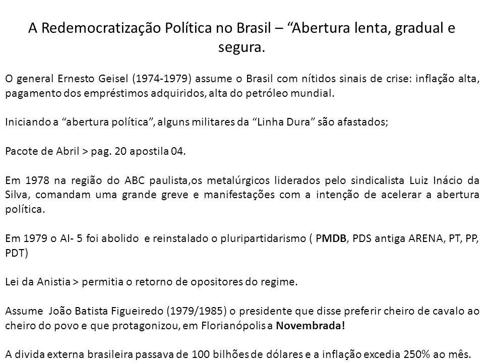 A Redemocratização Política no Brasil – Abertura lenta, gradual e segura.