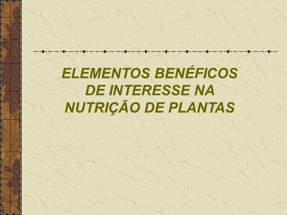 ELEMENTOS BENÉFICOS DE INTERESSE NA NUTRIÇÃO DE PLANTAS