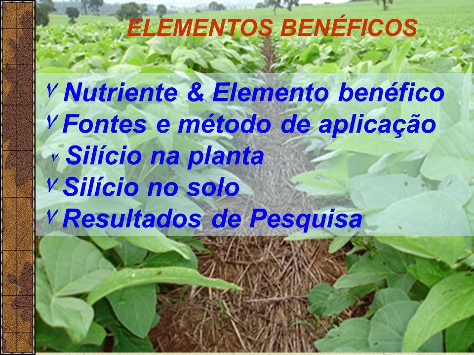 ۷ Nutriente & Elemento benéfico ۷ Fontes e método de aplicação