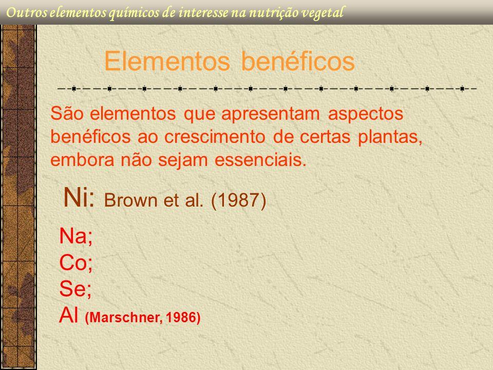 Elementos benéficos Ni: Brown et al. (1987) Na; Co; Se;