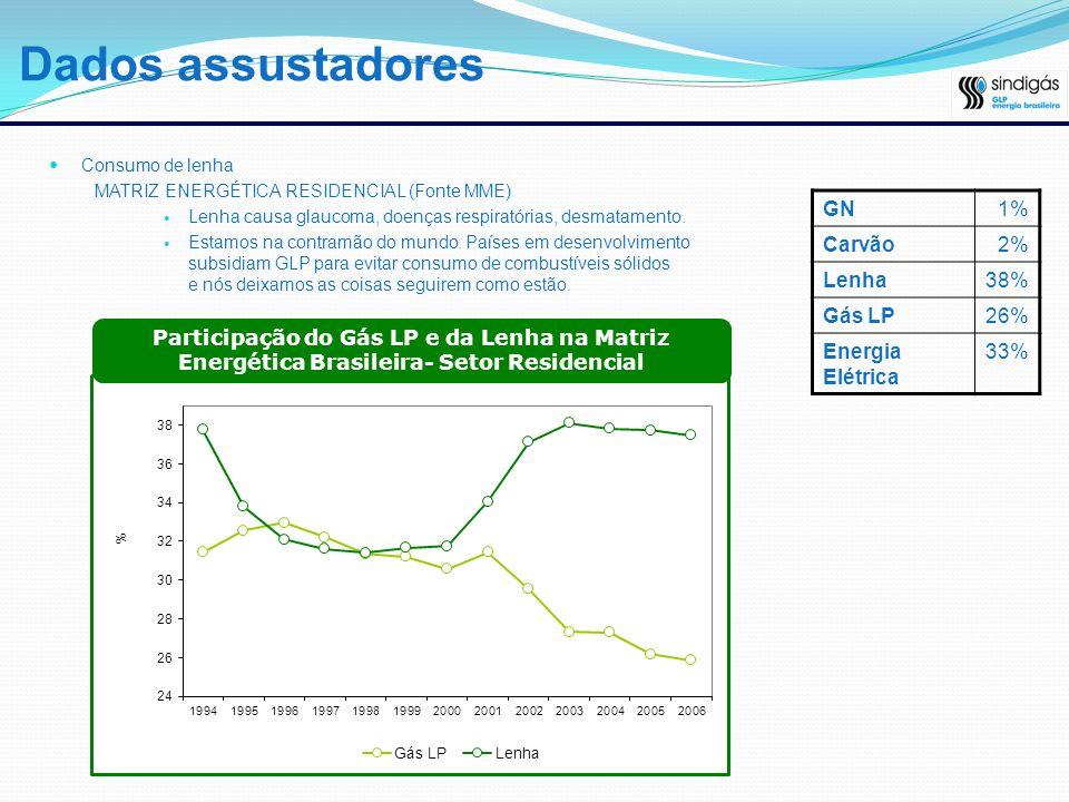 Dados assustadores GN 1% Carvão 2% Lenha 38% Gás LP 26%