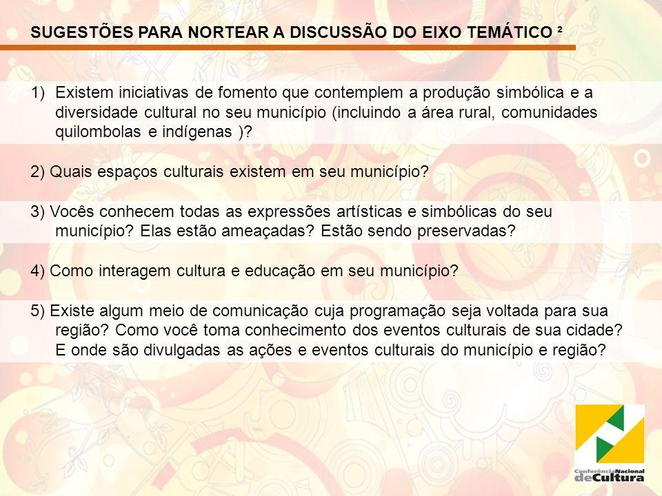 SUGESTÕES PARA NORTEAR A DISCUSSÃO DO EIXO TEMÁTICO ²