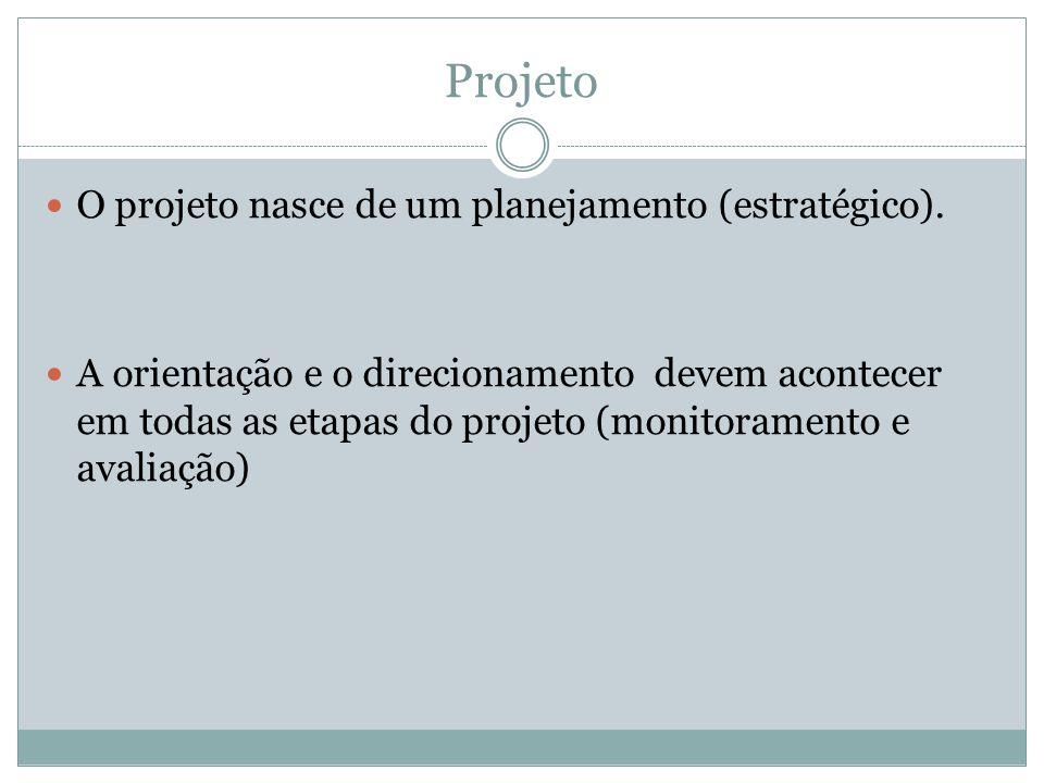 Projeto O projeto nasce de um planejamento (estratégico).
