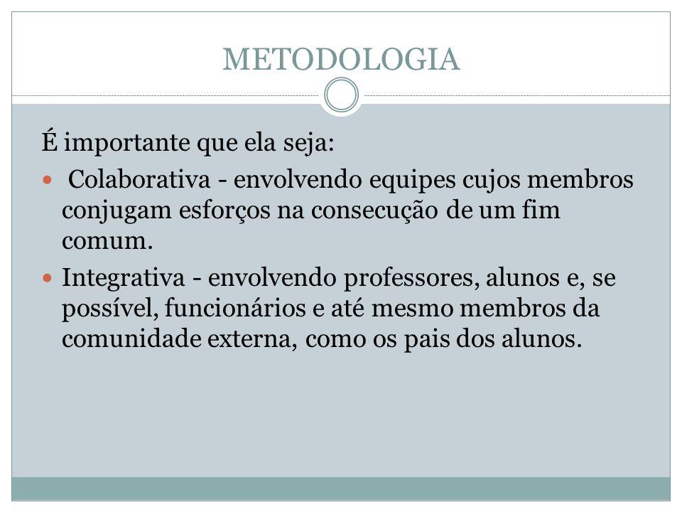 METODOLOGIA É importante que ela seja: