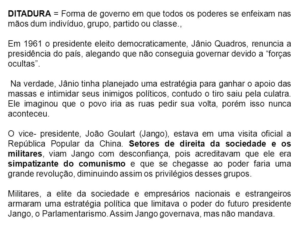 DITADURA = Forma de governo em que todos os poderes se enfeixam nas mãos dum indivíduo, grupo, partido ou classe.,