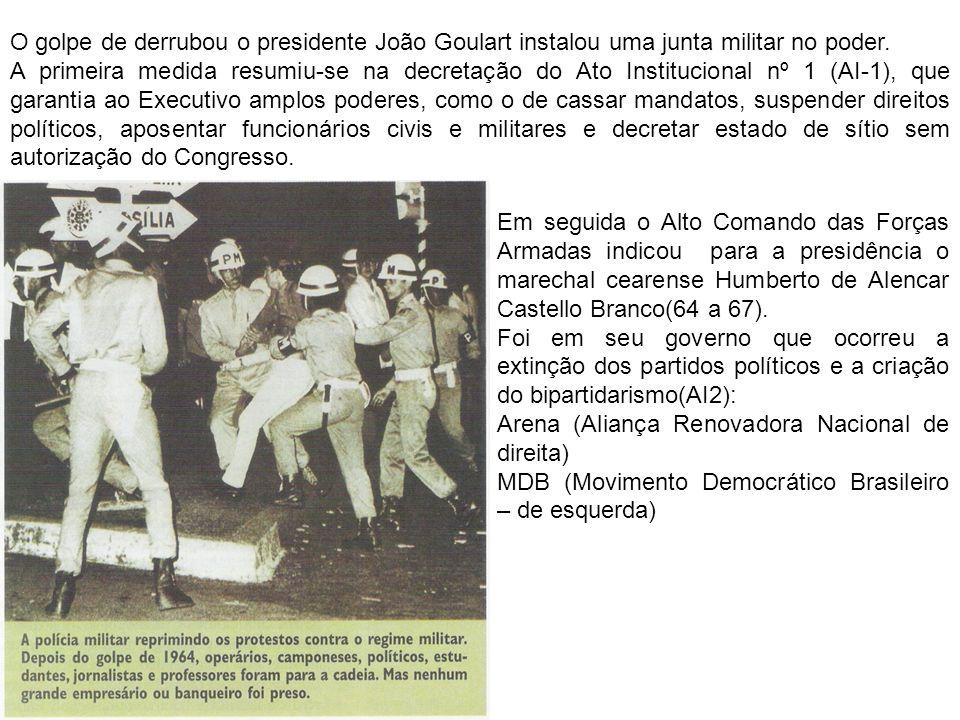 O golpe de derrubou o presidente João Goulart instalou uma junta militar no poder.