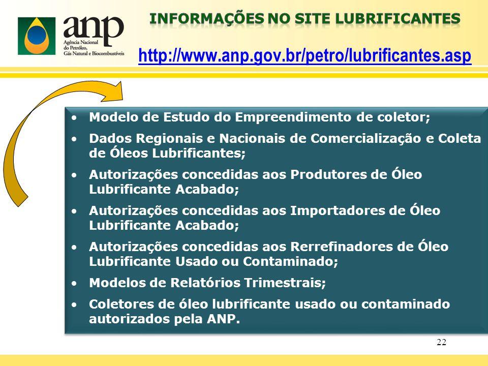 Informações no site LUBRIFICANTES http://www. anp. gov