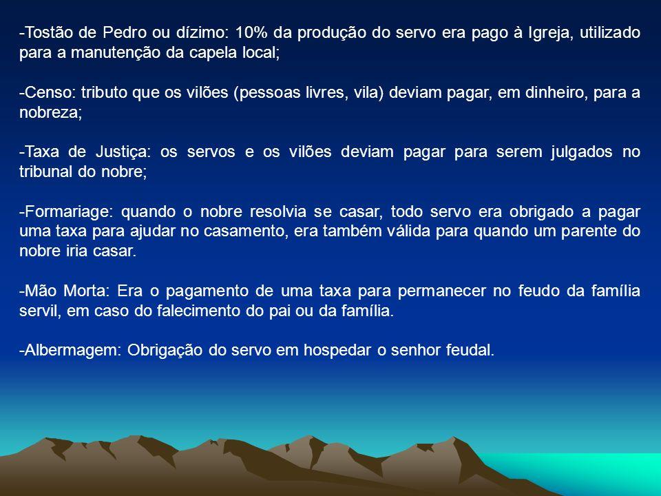 Tostão de Pedro ou dízimo: 10% da produção do servo era pago à Igreja, utilizado para a manutenção da capela local;