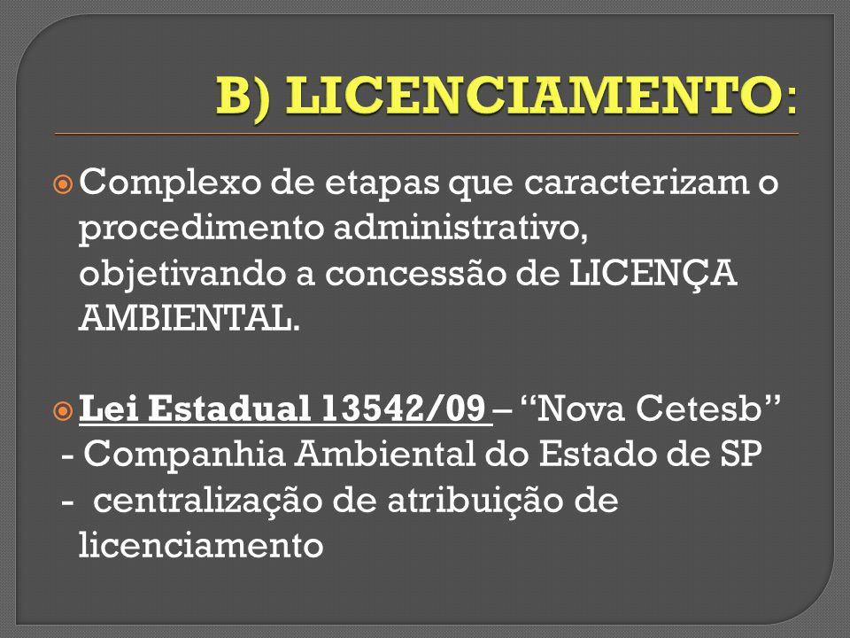 B) LICENCIAMENTO: Complexo de etapas que caracterizam o procedimento administrativo, objetivando a concessão de LICENÇA AMBIENTAL.