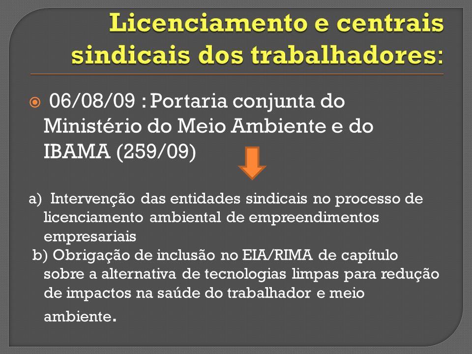 Licenciamento e centrais sindicais dos trabalhadores: