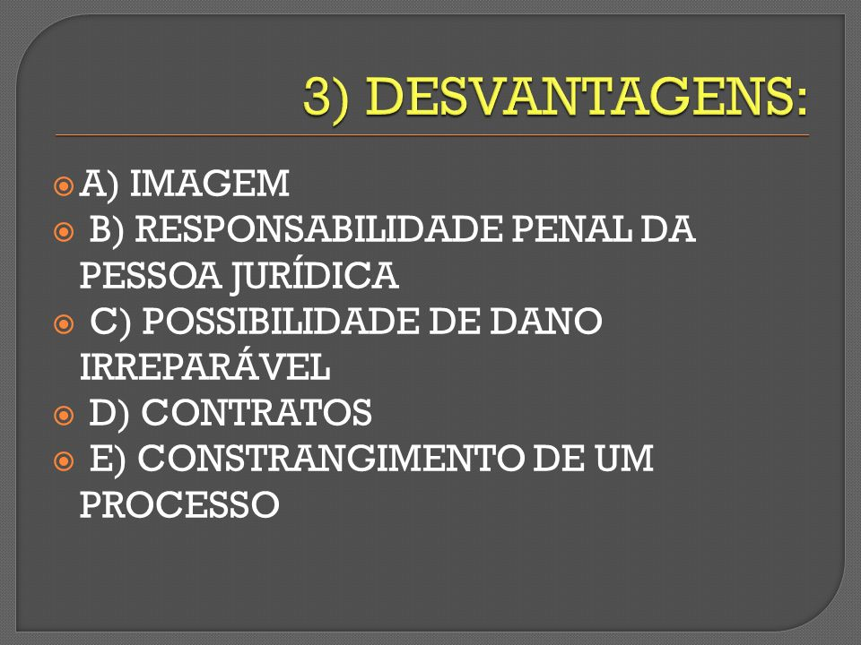 3) DESVANTAGENS: A) IMAGEM