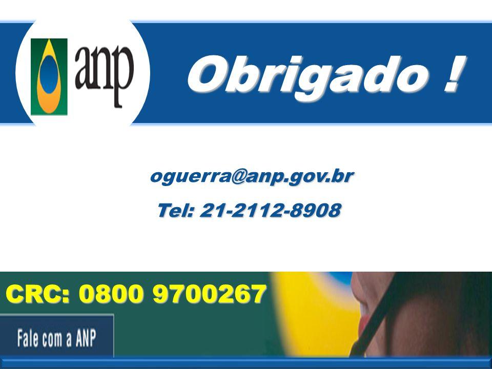 Obrigado ! oguerra@anp.gov.br Tel: 21-2112-8908 CRC: 0800 9700267 19