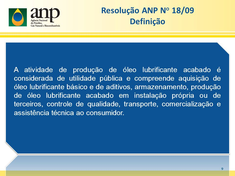 Resolução ANP No 18/09 Definição