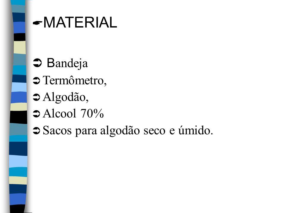 MATERIAL Bandeja Termômetro, Algodão, Alcool 70%