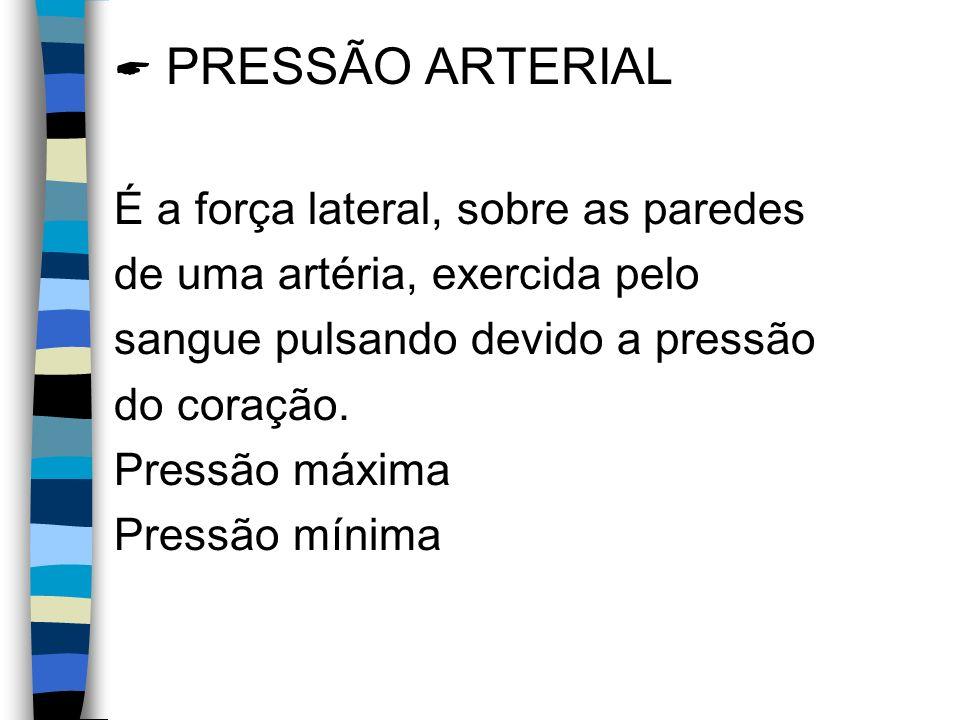 PRESSÃO ARTERIAL É a força lateral, sobre as paredes