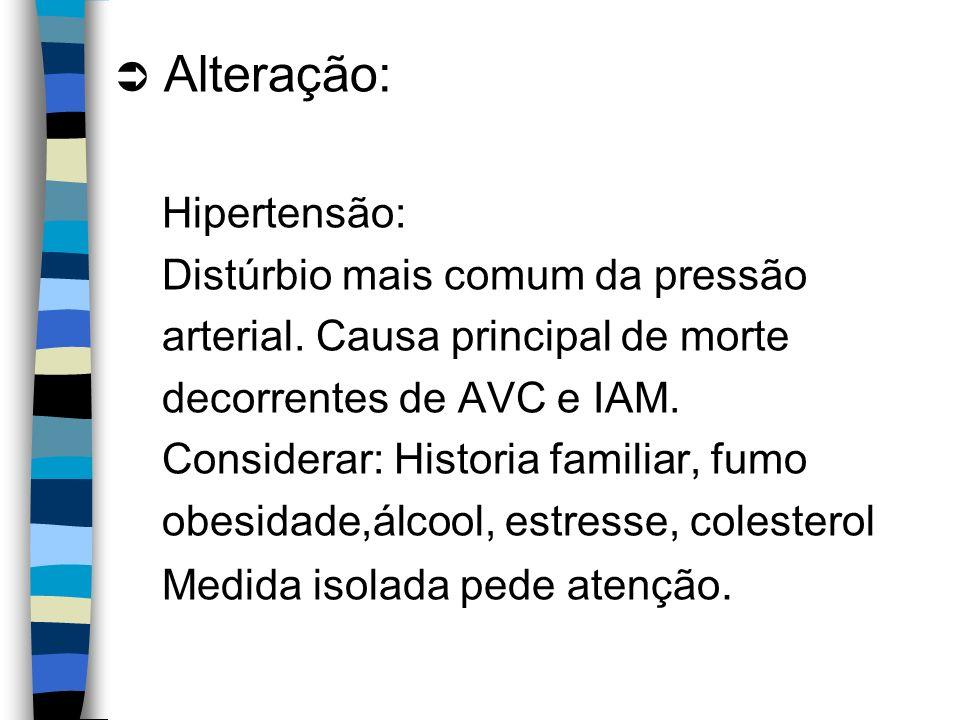 Alteração: Hipertensão: Distúrbio mais comum da pressão