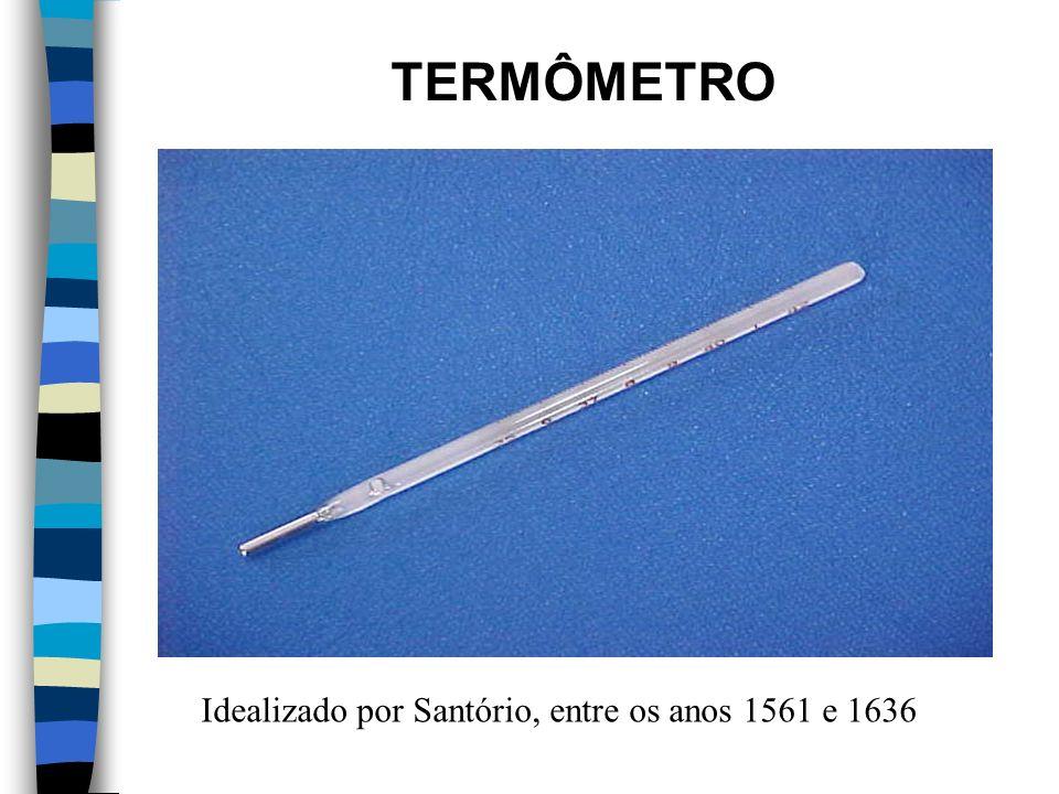 TERMÔMETRO Idealizado por Santório, entre os anos 1561 e 1636