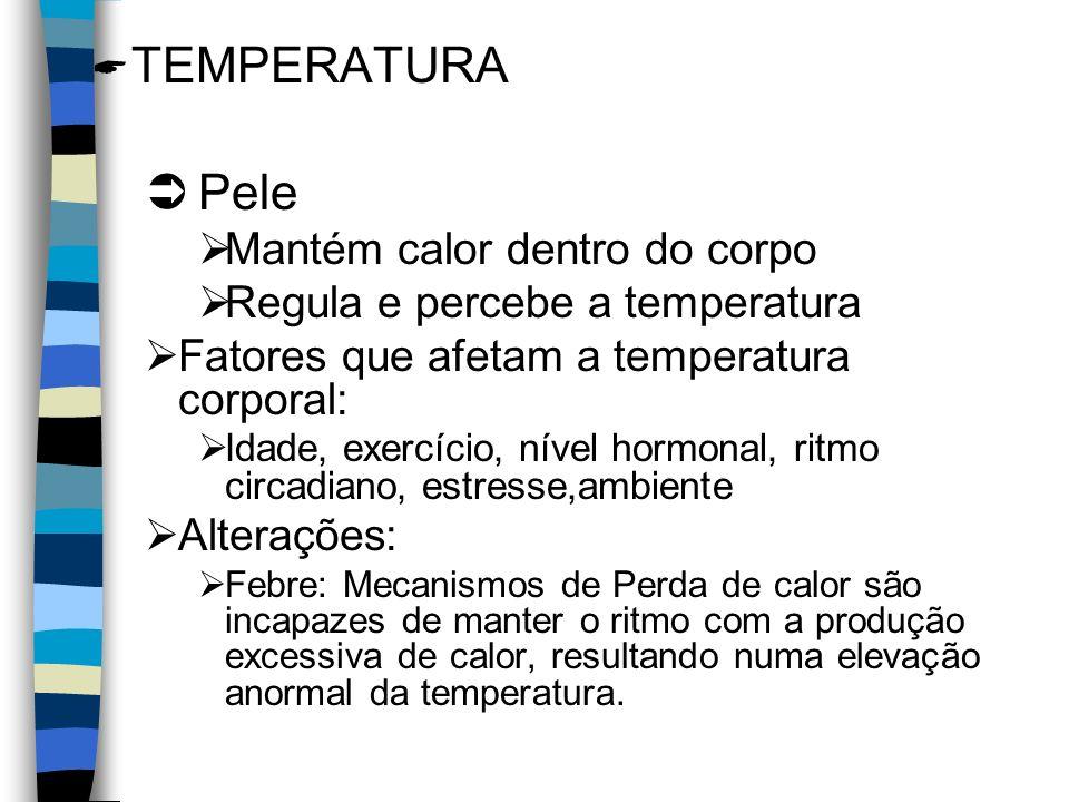 TEMPERATURA Pele Mantém calor dentro do corpo