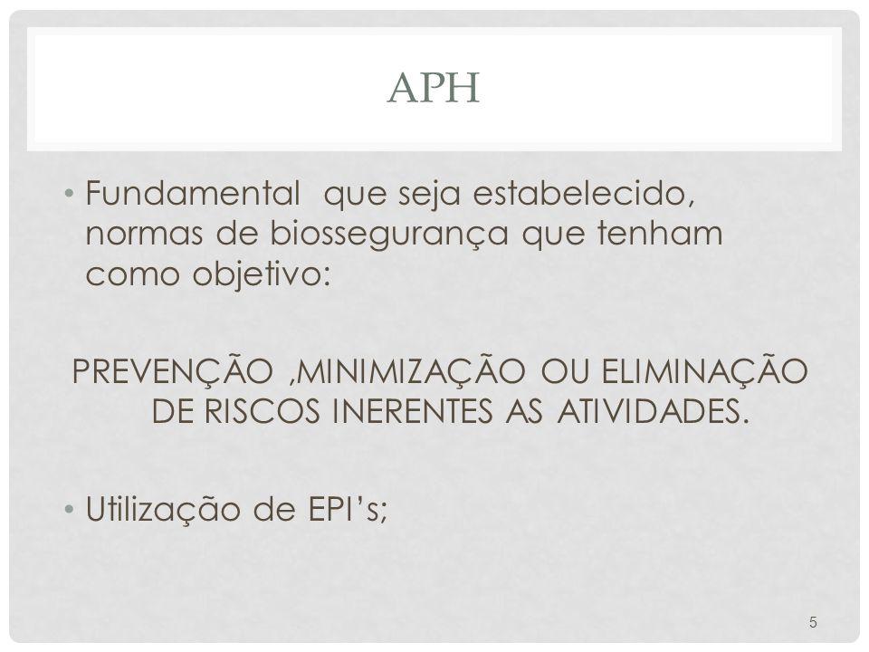 APH Fundamental que seja estabelecido, normas de biossegurança que tenham como objetivo: