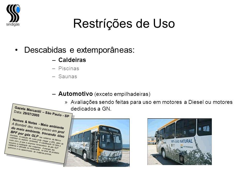 Restríções de Uso Descabidas e extemporâneas: Caldeiras