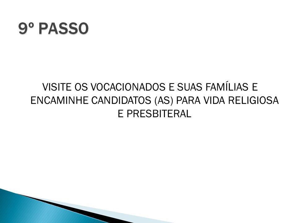 9º PASSO VISITE OS VOCACIONADOS E SUAS FAMÍLIAS E ENCAMINHE CANDIDATOS (AS) PARA VIDA RELIGIOSA E PRESBITERAL.