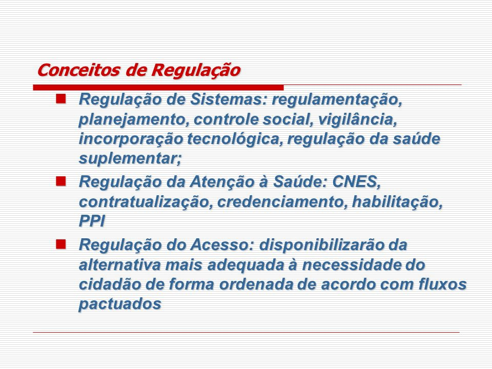 Conceitos de Regulação