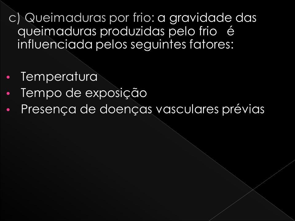 c) Queimaduras por frio: a gravidade das queimaduras produzidas pelo frio é influenciada pelos seguintes fatores: