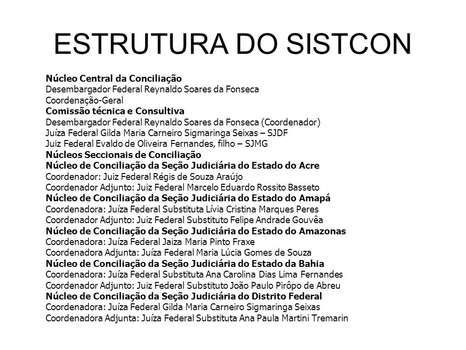 ESTRUTURA DO SISTCON Desembargador Federal Reynaldo Soares da Fonseca