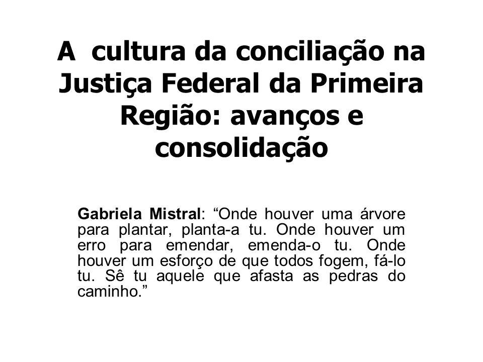 A cultura da conciliação na Justiça Federal da Primeira Região: avanços e consolidação