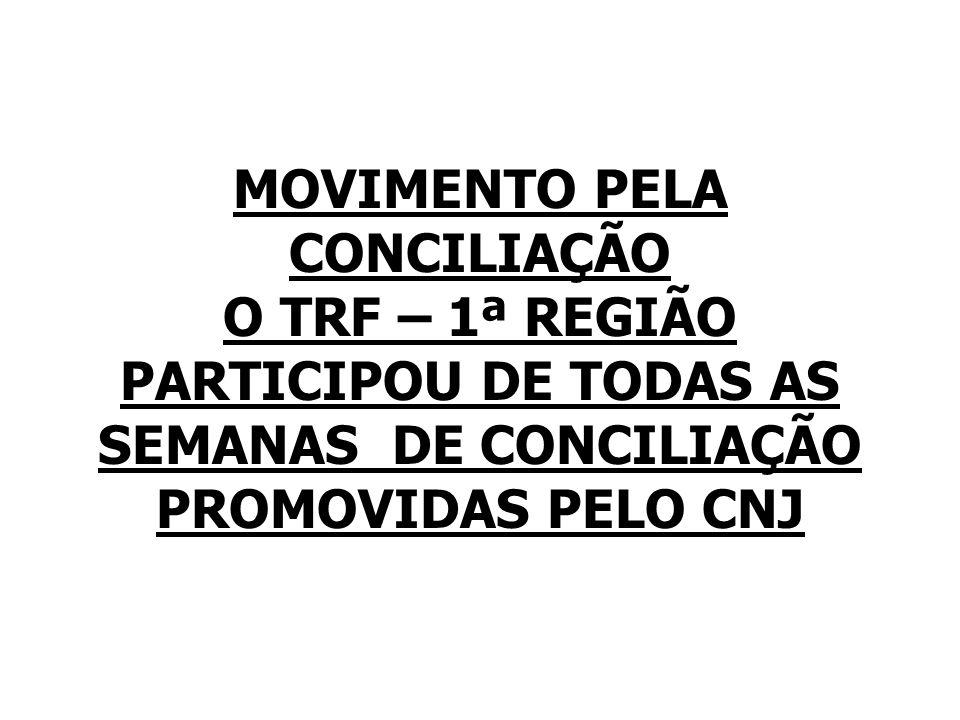 MOVIMENTO PELA CONCILIAÇÃO O TRF – 1ª REGIÃO PARTICIPOU DE TODAS AS SEMANAS DE CONCILIAÇÃO PROMOVIDAS PELO CNJ