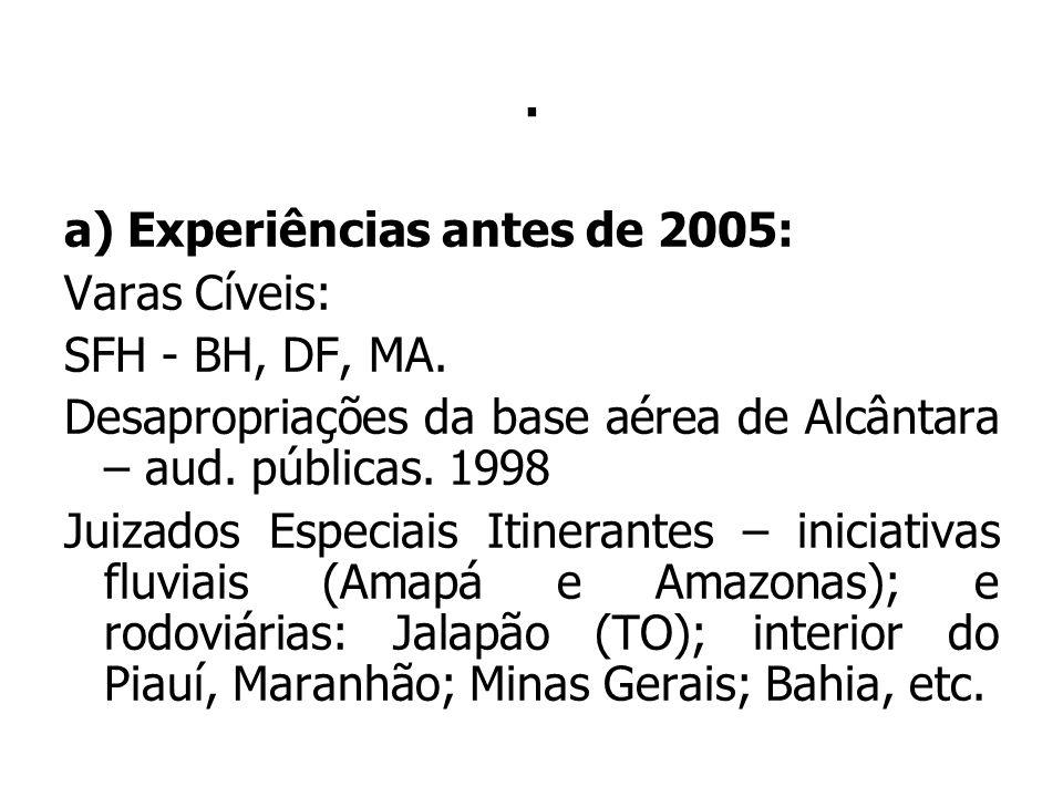 . a) Experiências antes de 2005: Varas Cíveis: SFH - BH, DF, MA. Desapropriações da base aérea de Alcântara – aud. públicas. 1998.