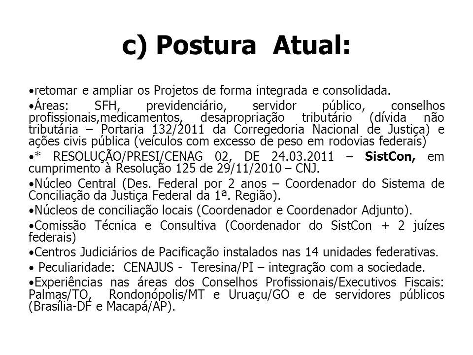 c) Postura Atual: retomar e ampliar os Projetos de forma integrada e consolidada.