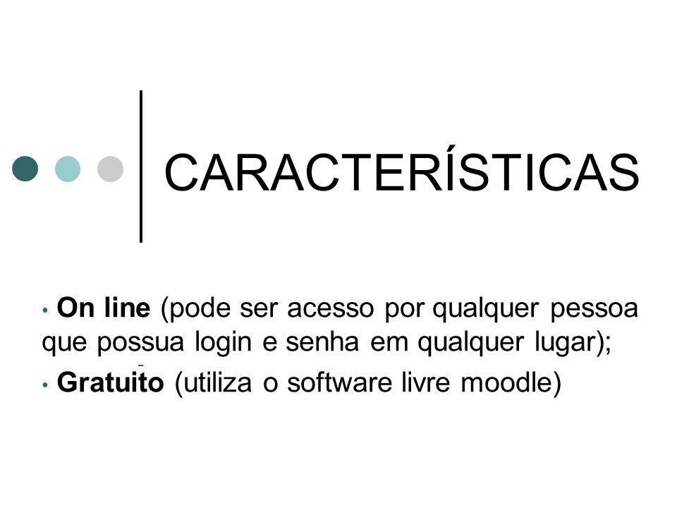 CARACTERÍSTICASOn line (pode ser acesso por qualquer pessoa que possua login e senha em qualquer lugar);