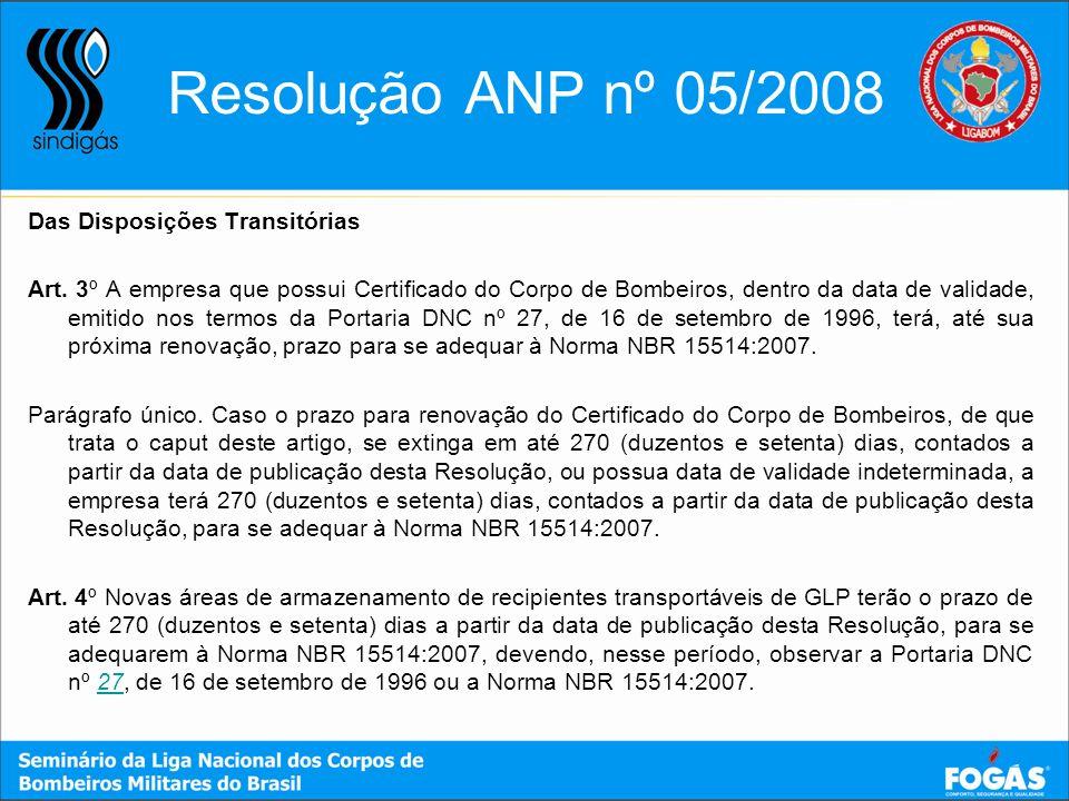 Resolução ANP nº 05/2008 Das Disposições Transitórias
