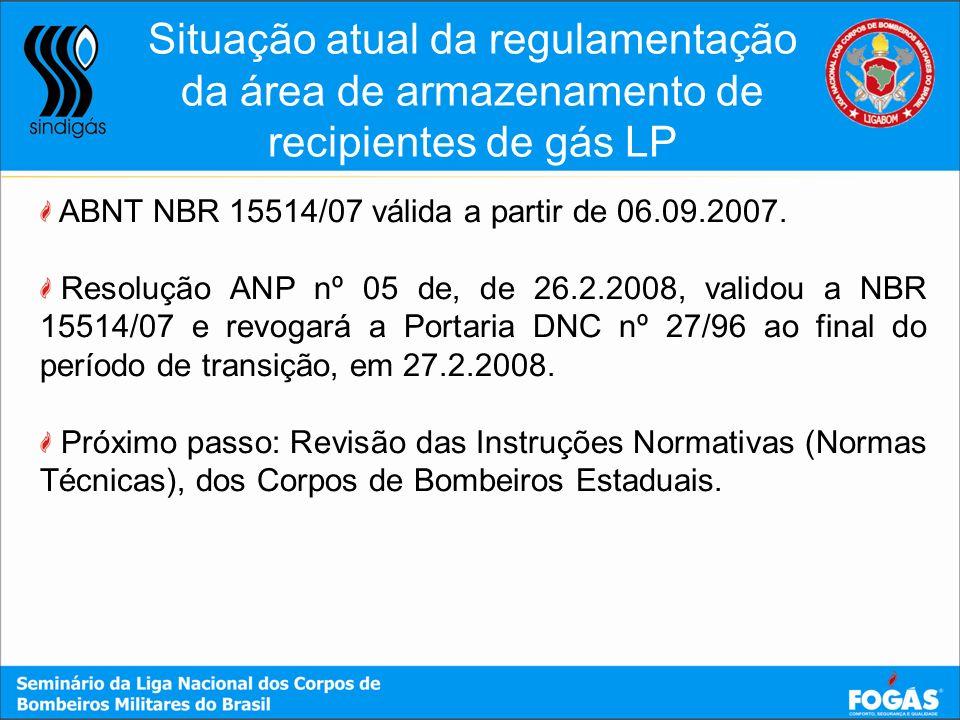 Situação atual da regulamentação da área de armazenamento de recipientes de gás LP