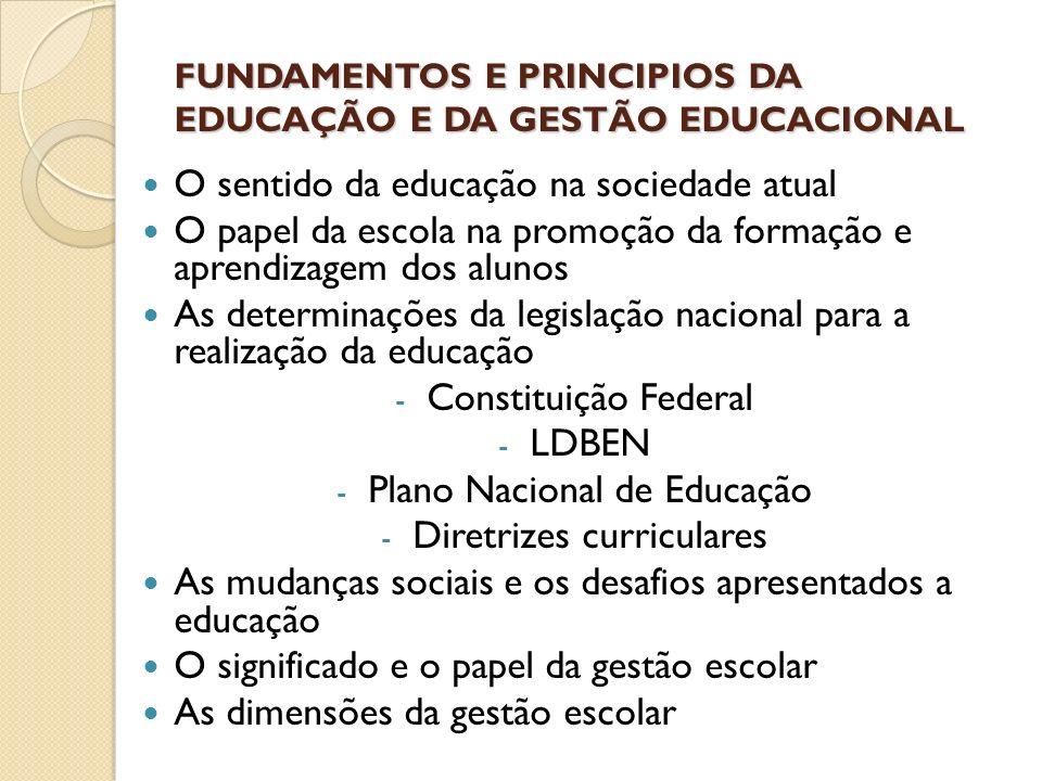 FUNDAMENTOS E PRINCIPIOS DA EDUCAÇÃO E DA GESTÃO EDUCACIONAL