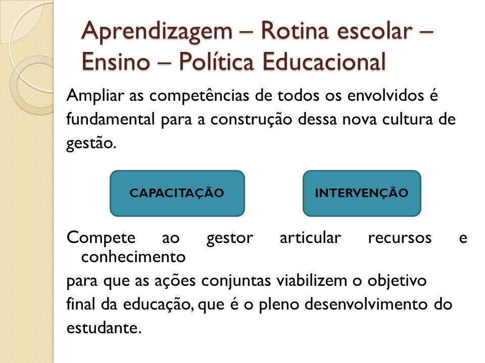 Aprendizagem – Rotina escolar – Ensino – Política Educacional