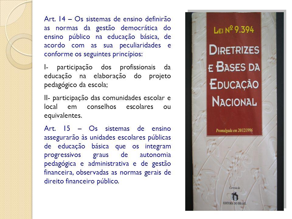 Art. 14 – Os sistemas de ensino definirão as normas da gestão democrática do ensino público na educação básica, de acordo com as sua peculiaridades e conforme os seguintes princípios: