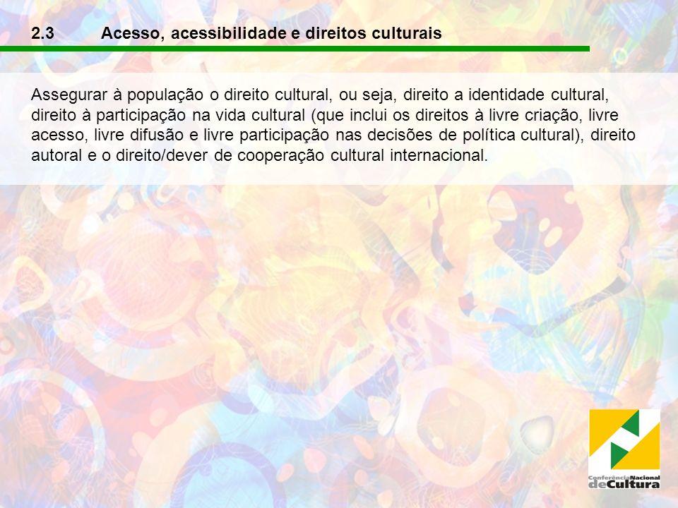 2.3 Acesso, acessibilidade e direitos culturais